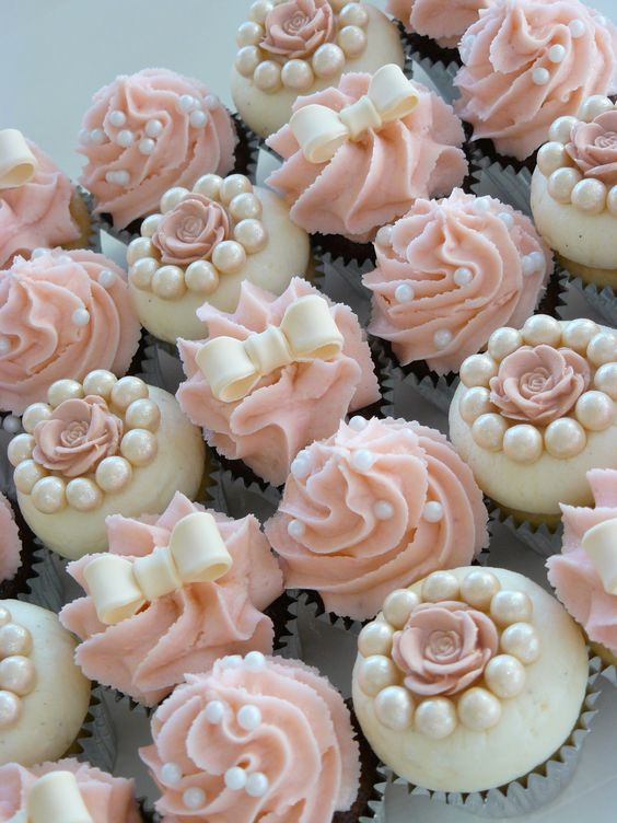 Rose, Pearls And Ribbon Cupcakes