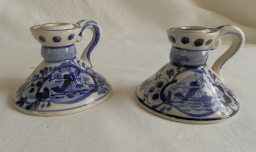 Vintage ELESVA Holland DELFT BLUE & White CANDLE HOLDERS Matching Pair