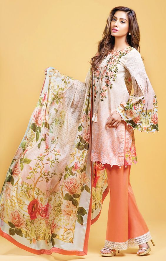 Stitching Styles Of Pakistani Dresses Orange Bell bottom