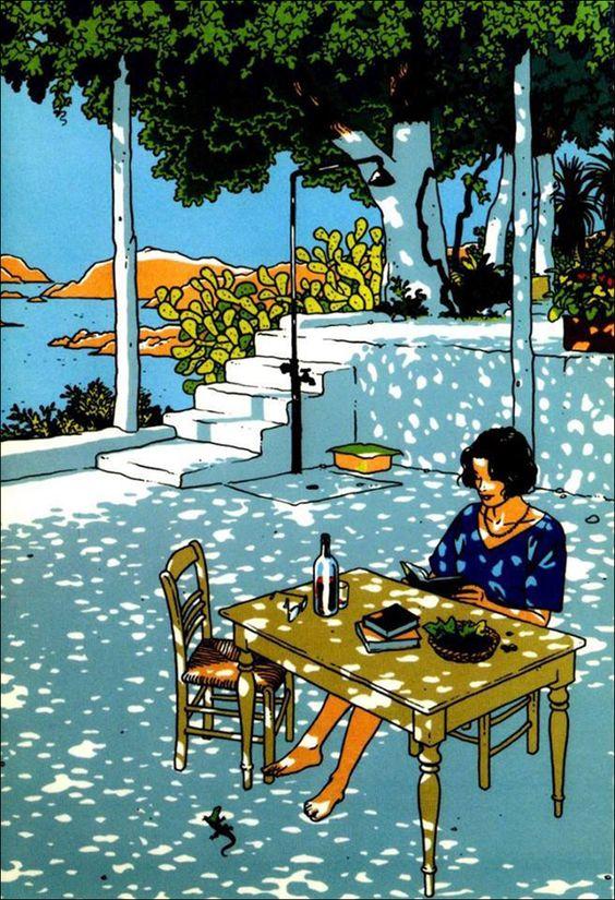 Mediterranean Scene. Drawing by Italian comic artist Vittorio Giardino