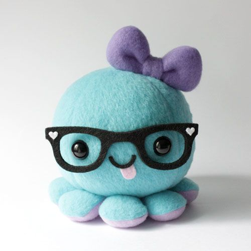 Kawaii Octopus Plush with Bow and Glasses