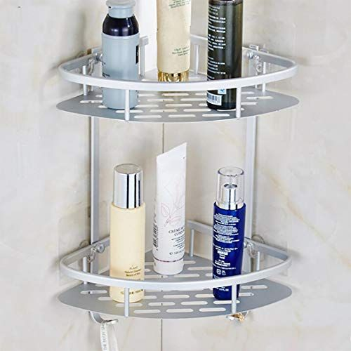 Iusun Bathroom Shelves Durable Aluminum 2 Tiers Shower Shelf Suction Corner Shelves Shower Caddy Shelf For Ba Shower Shelves Bathroom Shelves Bathroom Storage