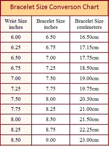 bracelet size chart bead inspiration pinterest