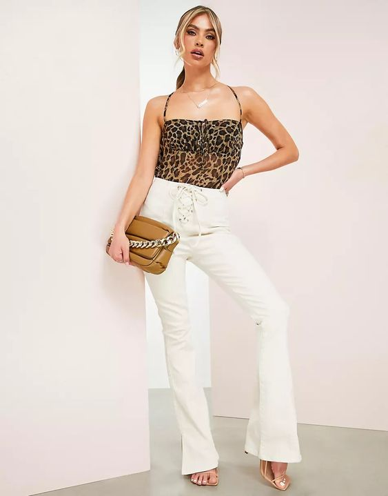 Hourglass Flared Jean With Lace Up Front ASOS DESIGN