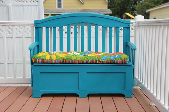 Crib turned into turquoise storage bench