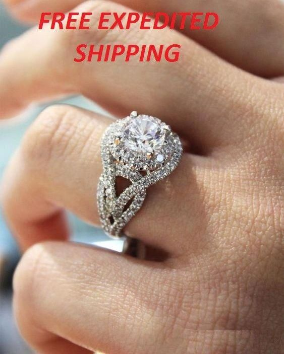 1 50ct Round Diamond Halo Bridal Set Engagement Ring 10k White Gold Finish Sol Gorgeous Engagement Ring Platinum Halo Engagement Ring Wedding Rings Engagement