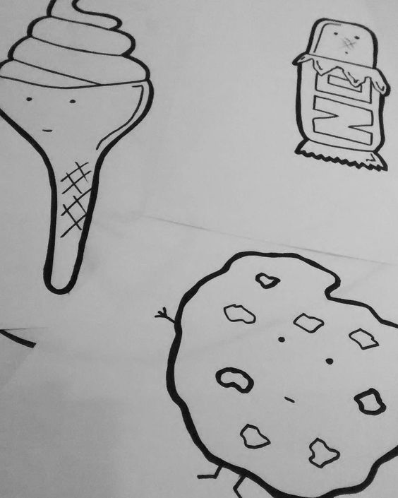 Some new sweetness cooking in the lab.. #art #food #candy #dessert #illustration #marker #cartoon #character #cookie #icecream #chocolate #diet #indulge #eat #drawing #sketchbook #yum #junkfood