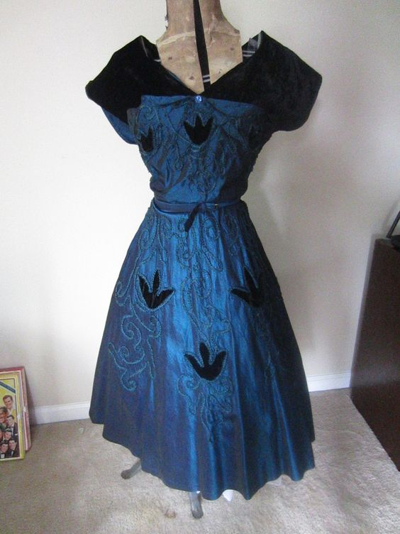 1950's Taffeta Evening Cocktail Dress with Black Velvet Detail Dark Blue Excellent condition by MuggiesVintageFinds on Etsy
