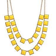 JANE PIERRE carré jaune chaîne d'or Bib collier de mode de déclaration (5 couleurs)
