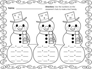 free printable snowman fact families winter wonders pinterest fact families search and. Black Bedroom Furniture Sets. Home Design Ideas