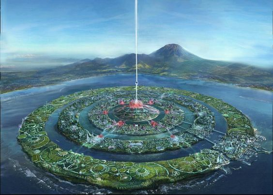 Solar Utopian city. Outer ring: farms, Middle: housing, parks, recreation, inner: government http://www.plantman.org/atlantis_01.jpg  pic.twitter.com/Ni4ymf3Bdv: