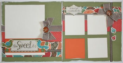 Karen Pedersen: July Play Group Scrapbooking Classes (Stella Kit) - I was just thinking about ways to use this ribbon last night. Love how Karen used it. :)