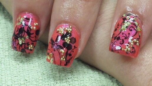 """I did a freinds nails today. LaColors """"crushin """" and Pueen Buffet plate .  Not the greatest, but i embellished to try and make the best if it. 07/28/2014"""