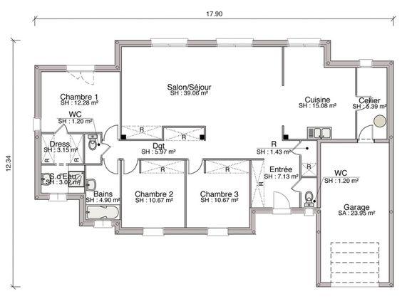 construction d 39 une maison contemporaine de m2 avec 3 chambres des lignes sobres une. Black Bedroom Furniture Sets. Home Design Ideas