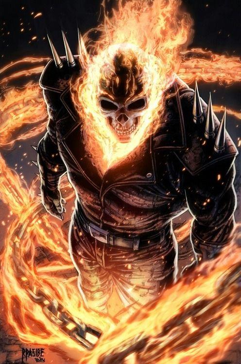 ghost rider, marvel comics, art illustration