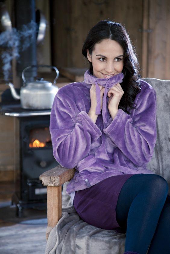 Ladies SockShop Heat Holders Snugover Fleece Jumper In Purple  £25.99