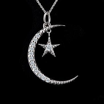 Diamond Crescent Moon and Star Pendant 14K White Gold ...