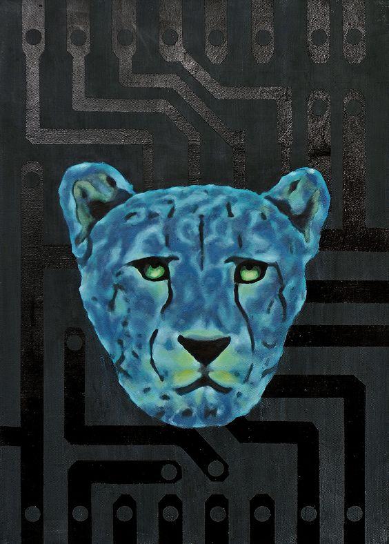 -Gepard- by Gunter Pusch, oil, acrilic, spray on canvas, 70x50cm, 2014