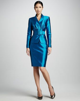 Blue Silk Shantung Skirt Suit and Black High Heels | PLAY