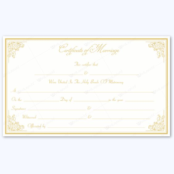Simple and formal marriage certificate template #wedding - formal certificate template