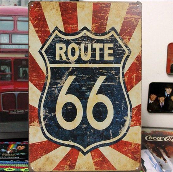 Quality Retro Route 66 Bord