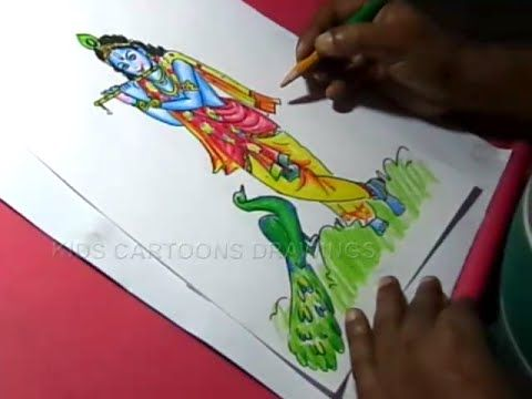 How To Draw Lord Little Krishna Color Drawing For Kids Step By Step Youtube Krishna Drawing Little Krishna Step By Step Drawing