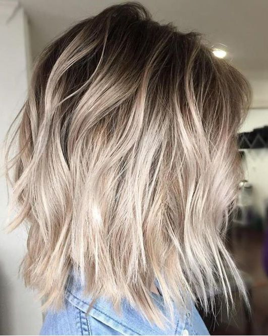 Dark Ash Roots Pearly Ombre On Medium Bob Taupe Colored Roots