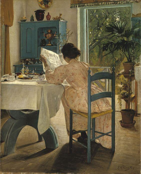 Laurits Andersen Anel - Rapariga que olha para fora de uma janela 1885 Laurits Andersen Anel  (1854-1933) foi um dos pintores mais importantes dinamarqueses da virada do século 20, que foi pioneiro tanto simbolismo e realismo social na Dinamarca. Considerada uma das obras-primas da cultura dinamarquesa, a sua pintura do dia de verão por Roskilde Fjord foi incluído em 2006 dinamarquês Cultura Canon.