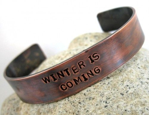 Antiqued Copper Hand Stamped Bracelet - Winter Is Coming | foxwise - Jewelry on ArtFire