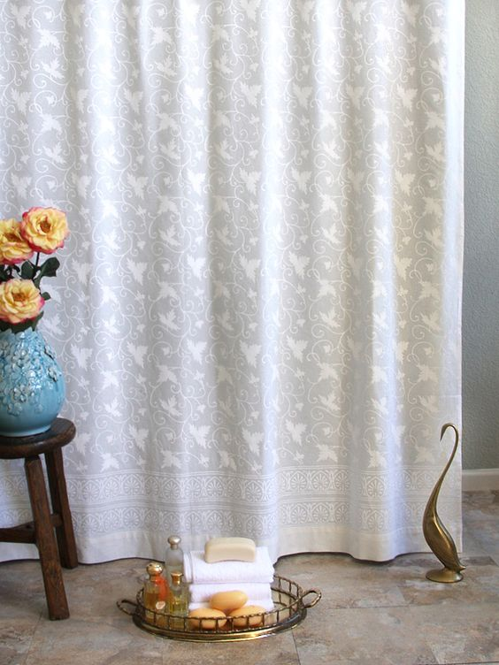 White On White Vintage Country Cottage SHOWER CURTAIN: Add ...