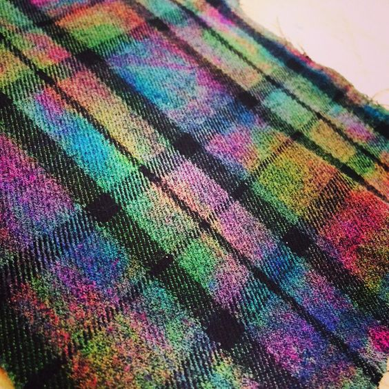 I bleached some old tartan trousers cut them up and using brusho and ink re stained them and i think it looks soo pretty