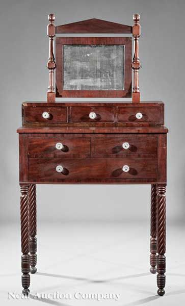 An american classical carved mahogany gentleman 39 s dressing for Furniture 1825