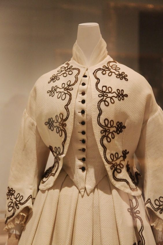Day Dress   American, 1862–64   White cotton piqué with black soutache: