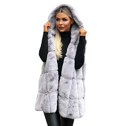 Women Sleeveless Hooded Coat Solid Color Plus Size Warm Long Wool Coat