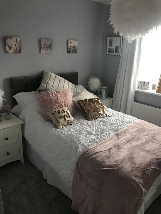 Grey, white, blush and rose gold girls bedroom. My daughter loves this. Paint - Fog by b&q Headboard - ebay Bedding - sainsburys Cushions - b&m and wilkos Throw - asda Curtains - next Voile - the range Bedside tables - argos Feather lamps - ebay Feather light - b&q Canvas and picture frames - wilkos