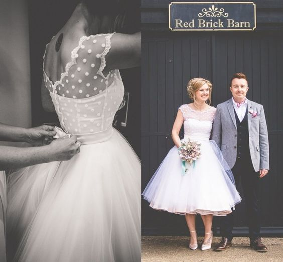 New Simple Short Scoop Neck Zipper Back Bridal Gowns Lace Tulle Vintage 1950s Tea Length Wedding Dresses Vestido De Noiva Curto