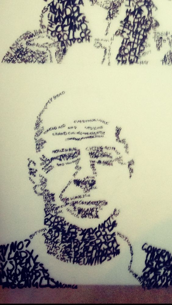 Close up of Bruce Willis image. Every line is a handwritten word.