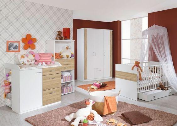 Babyzimmer »EMMA« 4-tlg in alpinweiß u2013 Nussbaum-Graphit - pinolino babyzimmer design