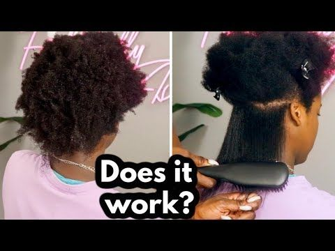 Testing A Heat Straightening Brush On Natural 4c Hair Youtube In