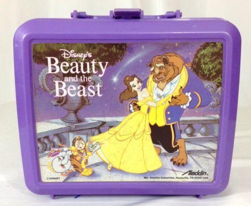 Beauty And The Beast Aladdin Lunch Box Purple Plastic Disney Rare
