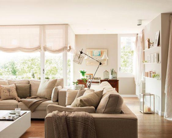 Post: Gran salón en blanco y arena --> blog decoracion interiores, colores claros decor, decoración clásica, decoración nórdica, decoración salones, Gran salón en blanco y arena