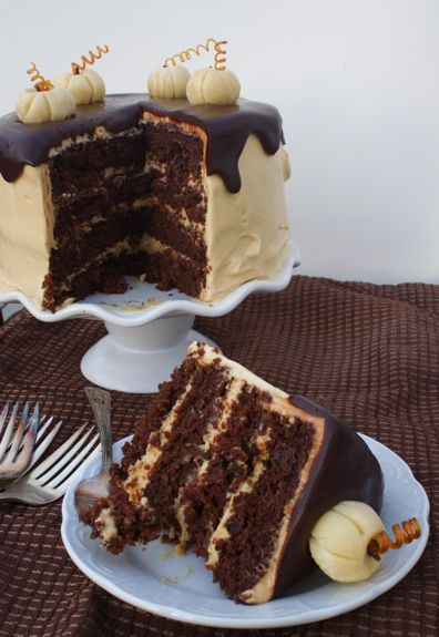 Chocolate Pumpkin Cake with salted caramel frosting