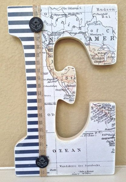 Personalized Nautical Wall Decor : Nautical baby boy name wooden wall letters personalized