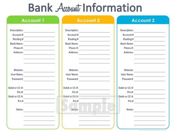 Bank Account Information Printable EDITABLE Personal Finance – Personal Finance Worksheets