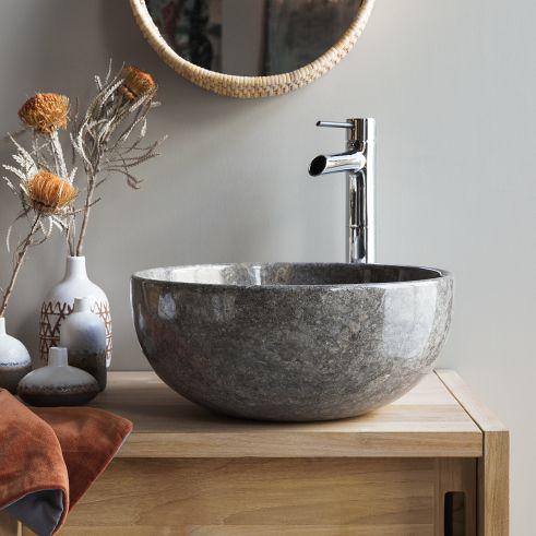 Lavandino In Marmo Grigio Chiaro 40 Cm Accessori Per Bagno En 2020 Vasque Plan Vasque Accessoires Salle De Bain