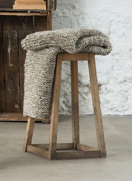 Hand Knit 100% PURE WOOL Afgan big size Blanket  by PUREWHITEDECO