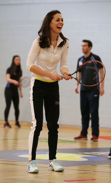 Catherine, Duchess of Cambridge takes part in a tennis workshop with Andy Murray's mother Judy at Craigmount High School in Edinburgh on February 24, 2016 in Edinburgh, Scotland.:
