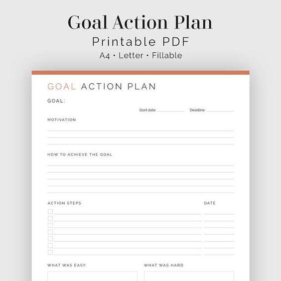 Goal Action Plan Fillable Printable Pdf New Year  Design General