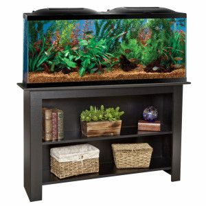 MARINELAND® 55 Gallon LED Hood Aquarium & Stand Ensemble | Showcase your aquarium with MARINELAND® 55 Gallon Aquarium/LED Hood/Stand Ensemble, which will be a perfect fit with your home's décor.