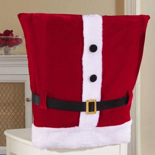 Kit 6 Capa Para Cadeira Natal Natalina Roupa Papai Noel Luxo 45x45